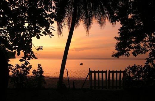 sunset coucher de soleil sur mer des Caraïbes