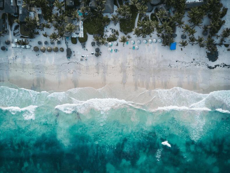 plage Mexique palmiers cocotiers mer turquoise